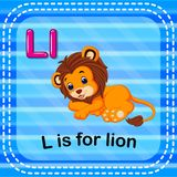 Flashcard letter L is for lion vector illustration