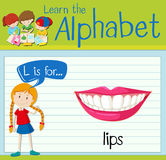 Flashcard letter L is for lips Stock Photo