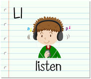 Flashcard letter L is for listen Royalty Free Stock Image