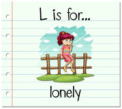 Flashcard letter L is for lonely Royalty Free Stock Photo