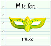 Flashcard letter M is for mask stock illustration