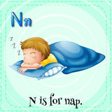 Flashcard letter N is for nap Royalty Free Stock Photo