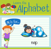 Flashcard letter N is for nap Stock Photos