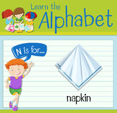 Flashcard letter N is for napkin Royalty Free Stock Photography
