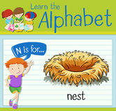 Flashcard letter N is for nest Stock Photos