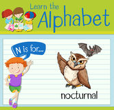 Flashcard letter N is for nocturnal. Illustration Stock Photography