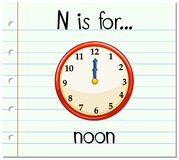Flashcard letter N is for noon. Illustration Royalty Free Stock Images