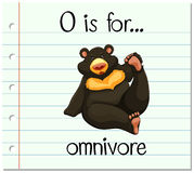 Flashcard letter O is for omnivore Stock Photos