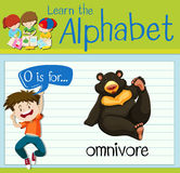 Flashcard letter O is for omnivore Royalty Free Stock Images