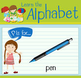 Flashcard letter P is for pen. Illustration Royalty Free Stock Photo