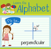 Flashcard letter P is for perpendicular Stock Photos