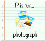 Flashcard letter P is for photograph Stock Photo