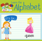 Flashcard letter Q is for queen Royalty Free Stock Photo