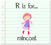 Flashcard letter R is for raincoat. Illustration Royalty Free Stock Photos