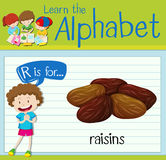 Flashcard letter R is for raisins Stock Photo