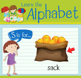 Flashcard letter S is for sack Royalty Free Stock Image