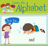 Flashcard letter S is for sad Stock Photos