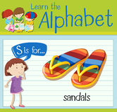 Flashcard letter S is for sandals Stock Photos