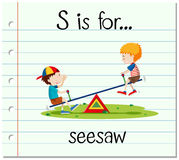 Flashcard letter S is for seesaw. Illustration vector illustration