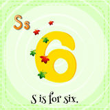 Flashcard letter S is for six Royalty Free Stock Images