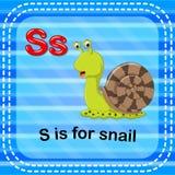 Flashcard letter S is for snail. Illustration of Flashcard letter S is for snail Stock Image