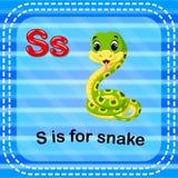 Flashcard letter S is for snake. Illustration of Flashcard letter S is for snake Stock Photos