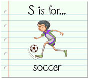 Flashcard letter S is for soccer Stock Image