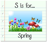 Flashcard letter S is for spring Stock Photos