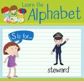 Flashcard letter S is for steward. Illustration Stock Image
