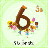 Flashcard of letter Six Royalty Free Stock Images