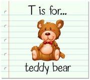 Flashcard letter T is for teddy bear Stock Photos