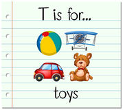 Flashcard letter T is for toys Royalty Free Stock Images