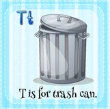 Flashcard letter T is for trashcan Stock Images