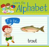 Flashcard letter T is for trout Royalty Free Stock Images