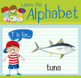 Flashcard letter T is for tuna Royalty Free Stock Photo