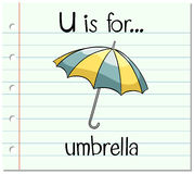 Flashcard letter U is for umbrella Royalty Free Stock Image