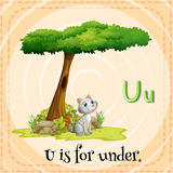 Flashcard letter U is for under Stock Photography