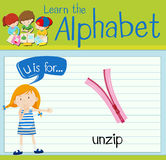 Flashcard letter U is for unzip. Illustration Royalty Free Stock Photography