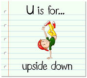Flashcard letter U is for upside down Royalty Free Stock Image