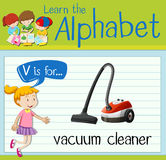 Flashcard letter V is for vacuum cleaner
