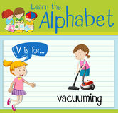 Flashcard letter V is for vacuuming Royalty Free Stock Images