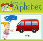 Flashcard letter V is for van Stock Photography