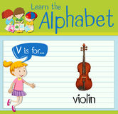 Flashcard letter V is for violin Stock Photo