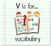 Flashcard letter V is for vocabulary Royalty Free Stock Images