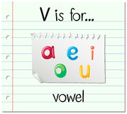 Flashcard letter V is for vowel vector illustration