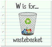 Flashcard letter W is for wastebasket Stock Photos