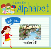 Flashcard letter W is for waterfall Stock Photography