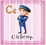 Flashcard list C jest dla policjanta Fotografia Stock
