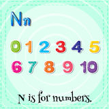 Flashcard N is for numbers Stock Photography