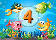 Flashcard number 4 with 4 fish underwater. Illustration Stock Photo